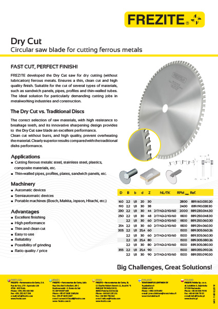 Dry Cut Circular saw blade - for cutting ferrous metals